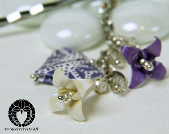 Origami Hair Bobby Pin - Purple, White lilies and a Heart