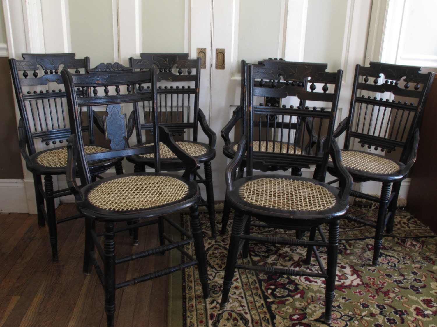 Painted Furniture Black Vintage Dining Chairs Cane By JazzySellers