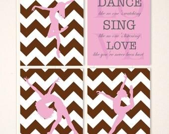 Girls dance art, girls wall art, art for girls room, chevron, dancer, dance art, inspirational dance quote, custom colors