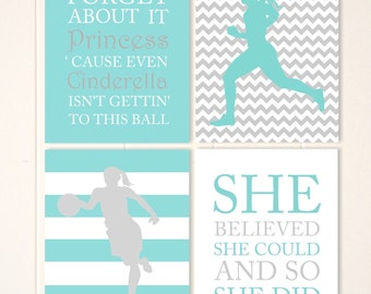 Runner, basketball player, girls room decor, girls inspirational quotes, girls quotes, dorm room poster, set of 4