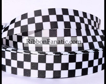 "5 yds 3/8""  5/8"" 7/8"" or 1.5""  Black and White Checkered Flag Check Grosgrain Ribbon"