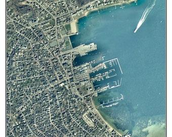 Nantucket Village on Nantucket, Massachusetts - 2001 Aerial Photo  Composite