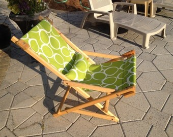 Hand Made Folding Cypress Deck Chair Sling Rocker Beach Concert Patio