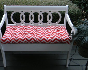 Red and White Chevron~Zig Zag Tufted Cushion for Bench~Swing~Glider, Choose Size