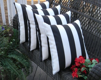 "SET OF 4 - 20""  Indoor / Outdoor Black & White Stripe Decorative Throw Pillows"