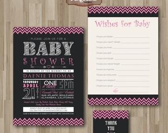 Baby Shower Girl Invitation. Chalkboard. DIY card. Digital Printable.