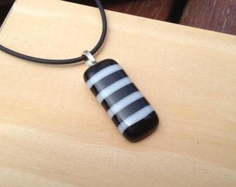 Black and White Striped Glass Pendant