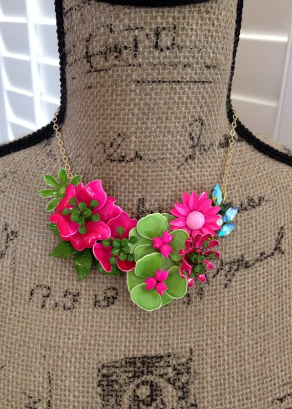 Hot pink and green rhinestone flower necklace, enamel flowers, neon pink, sage green rhinestone leaves, upcycle recycle repurpose