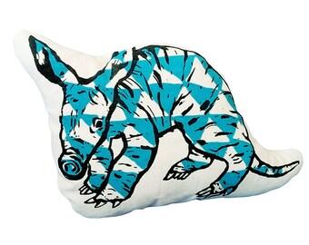 Aardvark, soft sculpture, screen print