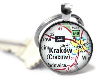 Krakow map keychain custom Cracow key ring vintage map key chain Poland travel gift keyring.