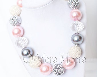 Pretty Pink Pearls, Valentine Chunky Bead Necklace, Chunky Necklace, Chunky Bead Necklace, Kids Necklace