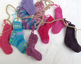 Pink Purple Tuquoise mini sock garland (5 ft) / Rustic Christmas garland / sock bunting / stocking banner / Free Shipping