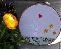 White Rabbit Hoop Art, Bunny Hoop Art, Applique and Hand Embroidered Rabbit Hoop Art, Little Girl's Woodland Room Decorations