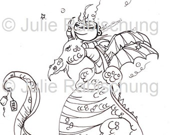 digital stamp-coloring page-adult coloring page-fantasy-dragon-teacup-cookies-light commercial use