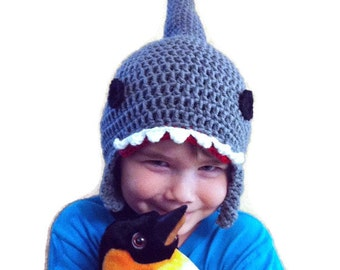 Crochet Shark Hat Sizes baby to adult