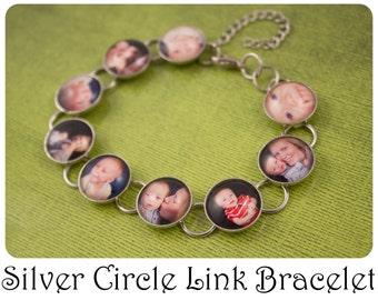 Custom Photo Bracelet Circle Link Bracelet in Silver and Bronze