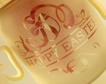 HAPPY EASTER - one of a kind perfect, unique and custom designed/ beautiful engraved candle holder