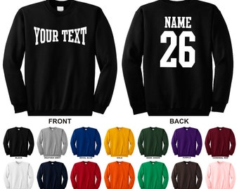 Personalized custom name and number crewneck sweatshirt, you choose the text for the front and back, MMA TEXT