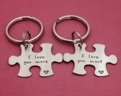 I Love You More I Love You Most Puzzle Piece Key Chain Set - Hand Stamped Stainless Steel