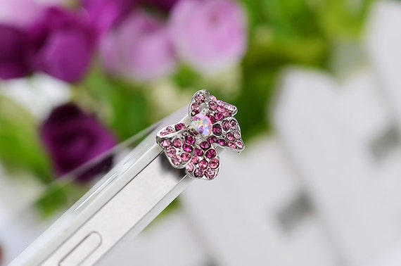 Bling Crystal Cute Pink Ribbon plug for earphone jack Fits iPhone 5 4 4s ,iPad ,iPad mini Samsung galaxy S2, S3, S4, 3.5mm output