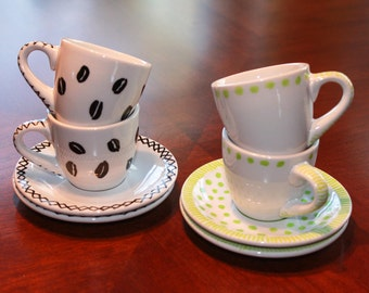 Hand-Painted Espresso Cup & Saucer Demitasse Set -  Coffee Gift Idea