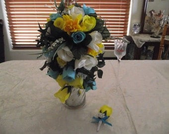 Silk Flower Wedding Bouquet, Yellow, White, and Teal with Boutonniere
