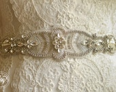 Wedding Crystal Beaded Satin Sash, Bridal Belt, Bridal Headpiece, Austrian Crystals, Swarovski, Rhinestone, Jewel Sash - Amanda