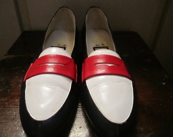 Vtg. Nina Red /White/ Blue Loafers Size 8.5 M Made In Spain