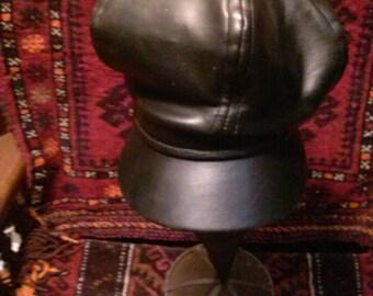 vtg faux leather biker hat 21.0 inches