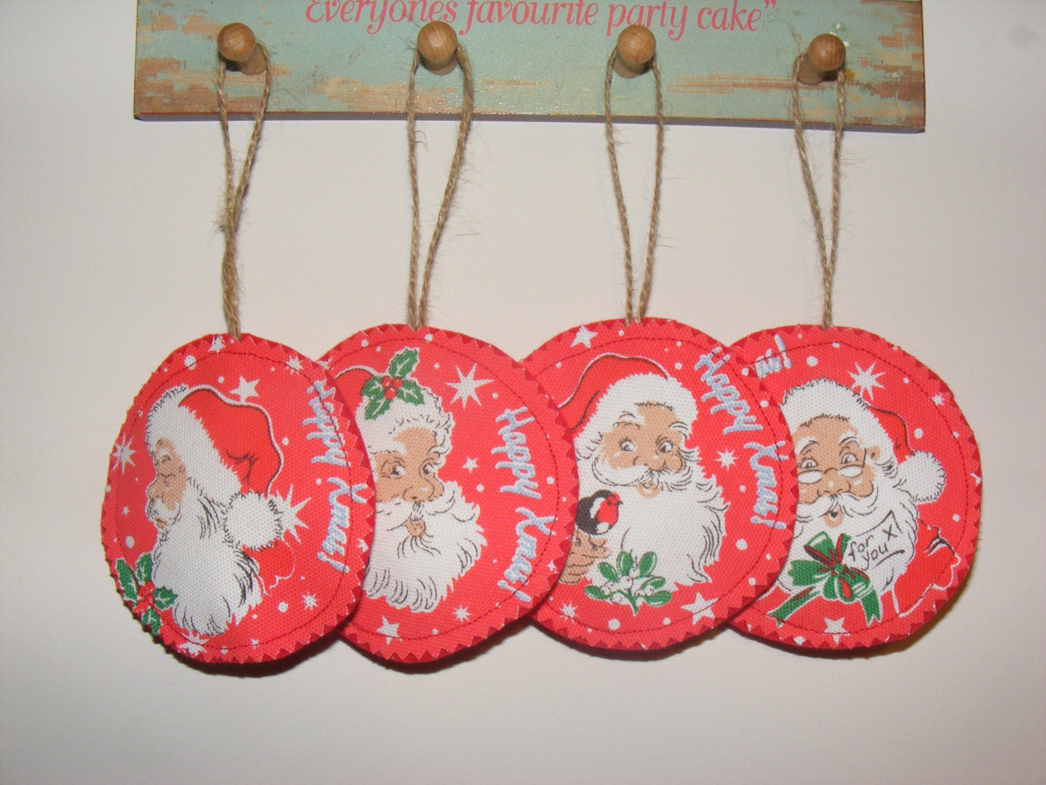 Set of 4 Santa Cath Kidston Fabric & Felt Handmade Christmas Hanging Decorations