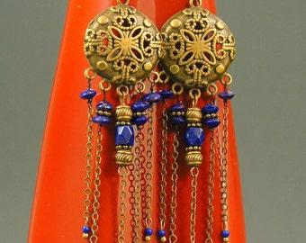 Lapislazuli  Lapis Lazuli Vintage  Bronze Earrings Semi precious Stone