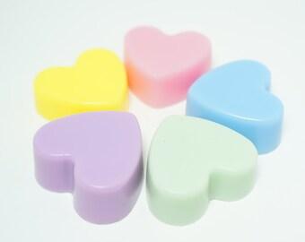 50 BULK MINI HEART Soaps - Choose Scent & Color, diy party favors, scented, kids, love, bridal shower, wedding, valentines day