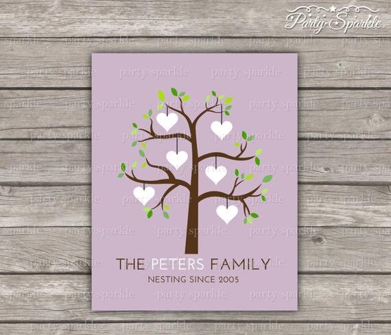 Printable Family Wall Decor : Printable family tree hearts wall art home decor custom