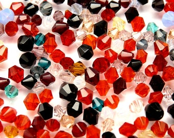 10gr Czech Fire-Polished Bicone Beads Mix Summer 3-8mm (FPM001)
