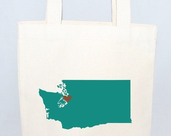 Set of 12 Washington State Screen Printed Canvas Bags For Wedding Guests