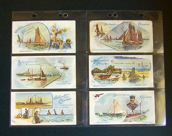 RARE 6 Nautical Marine Theme VTCs, Stollwerck Vintage Antique Victorian Trade Card, Cocoa, Full Set Gruppe #108