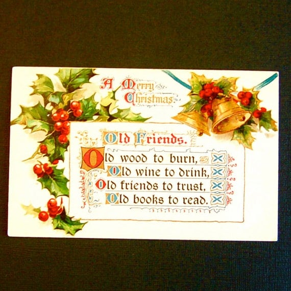 Vintage Christmas Poem, Bells & Holly Post Card From