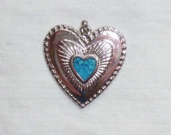 Vintage Silver Genuine Turquoise Southwest Inlaid Heart Pendant or Charm Love