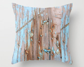 """Throw Pillow Cover  Turquoise Beach Wood II 16""""x16"""" 18x18 20x10 inches  inch Photography - 100% Spun Polyester nature beige abstract vintage"""