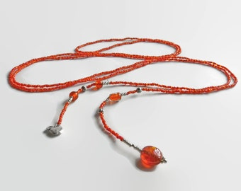 Lariat seed bead orange, seed bead wrap necklace, halloween pumpkin, bead necklace