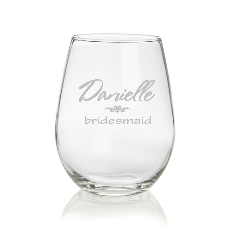 Personalized Stemless Wine Glass Wedding Bride Party