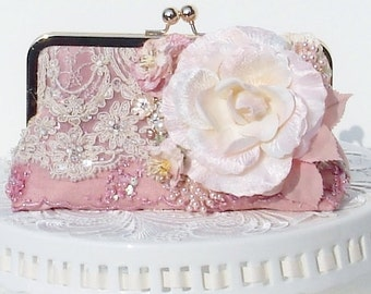 Vintage Wedding / Pink Wedding / Clutch / French Vintage/  Downton Abbey / Bridal Handbag / Farmhouse Wedding