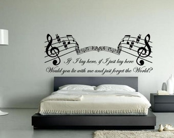 Snow Patrol If I Lay Here Quote Vinyl Wall Art Sticker, Song Lyrics Decal