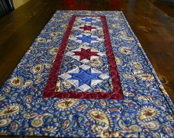 Western Stars Table Runner / Wall Hanging / Home Decor - Quilted