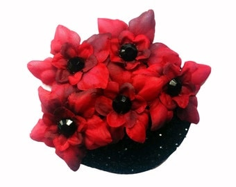 10% off with the code BDAY10  Jewelled Crimson Pin up floral glitter fascinator