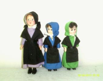 Set of Three Vintage Hard Plastic Dolls in Amish Dress, Sleepy Eye Dolls, Amish Dolls,Plastic Souvenir Dolls, Amish Decor, Amish Souvenir