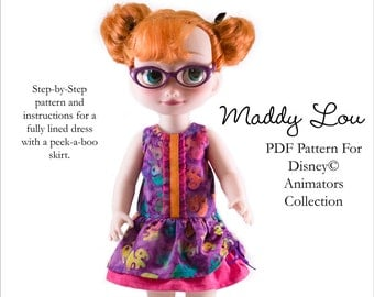 Pixie Faire Aha Customs Maddy Lou Dress Doll Clothes Pattern for Disney Animator Dolls - PDF