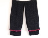 Girls Legwarmers / Upcycled Wool Leggings for Children / Eco friendly clothing / Pink Stripe Charcoal Gray heather