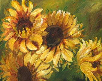 Sunflowers, flower art, four beautiful sunflowers with lots of movement on green background, sunflower gift