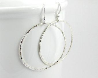 Large Hammered Hoop Earrings, Sterling Silver Earrings, Drop Earrings, Handmade Sterling Silver Jewellery 925